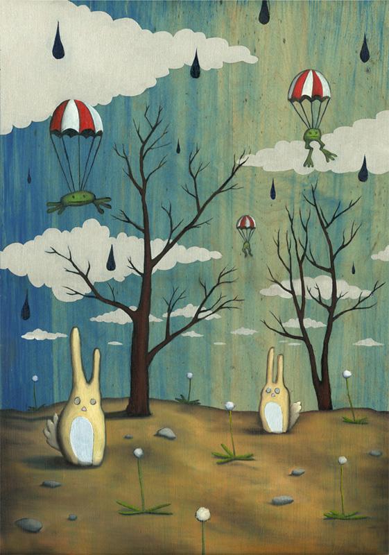 "Froggies and Bunnies  16"" x 20"" Oil on wood"